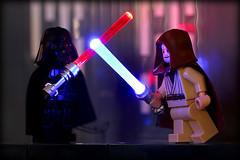 Glowing Lego Lightsabers (Frost Bricks) Tags: lego lightsaber duel darth vader ben kenobi death star hangar