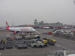 201701023 Berlin Tegel airport with AB airplane (taigatrommelchen) Tags: 20170105 germany berlin clouds airport airplane tower inflight txl eddt ber
