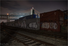 **OLD VS. NEW** (Rich Zoeller Photography) Tags: richzoeller rich zoeller thatkidrich tkr rails graffiti graff adek freight containers camera bridge bridges night nightphotography sky clouds old new construction kosciuszko brooklyn ny nyc newyorkcity newyork fineart