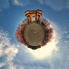 Glasgow Green Entrance (ali mckellar) Tags: college canon arch glasgow blossoms entrance sigma fisheye archway 8mm glasgowgreen ptgui tinyplanet 550d stereographicprojection panoplanet weeplanet gradedunit planosphere panosphere planetsphere