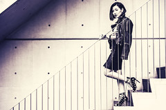 stairs (49mm) Tags: travel light red portrait streets green girl beautiful beauty face fashion japan photoshop asian tokyo cool nice model eyes nikon asia pretty moody dress natural natur 85mm malaysia kuala leafs available lumpur