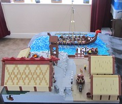 A Viking Village (SnowyB52) Tags: houses hall ship village lego quay blacksmith viking smithy