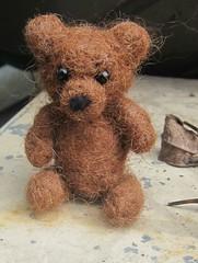 little brown needle felted bear cub