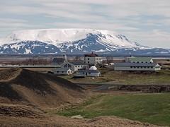 Skutustadu Vagnebrekka Farm 2 (joeng) Tags: sky mountain snow building church clouds landscape iceland farm olympus glacier omd em1 lakemyvatn vagnebrekkafarm skutustadu