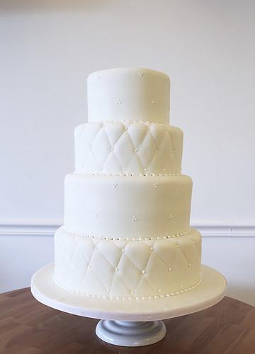 White Quilting Classic Wedding Cake