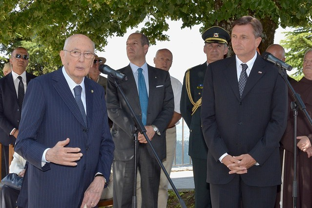 Il Presidente Giorgio Napolitano e il Presidente della Repubblica di Slovenia Borut Pahor durante le dichiarazioni alla stampa e al pubblico presente