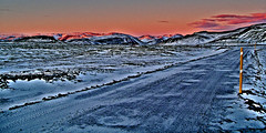 Cold Road (jezselten) Tags: road sunset holiday mountains cold ice walking iceland europe stopped diferent