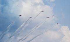 Red Arrows (Bruce Clarke) Tags: aircraft olympus airshow 75300mm oxfordshire redarrows m43 royalairforceaerobaticteam baesystemshawkt1 omdem1 50thdisplayseason rafbensonfamiliesday2014