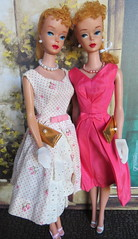 (6) Rosabella & Isabelle (Foxy Belle) Tags: pink party summer two vintage garden necklace twins doll dress bell 4 group barbie silk blonde isabelle pearl ponytail mattel rosabella