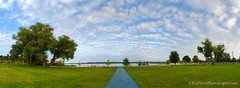 Lake Michigan ... the 'blues' carpet (Ken Scott) Tags: summer panorama usa beach playground michigan august lakemichigan greatlakes suttonsbay freshwater 2014 leelanau marinapark 45thparallel fhdr stripeyclouds bluesidewalk