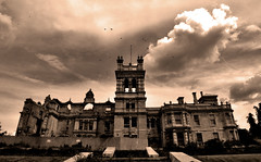 Overstone Hall....  Explored August 17th 2014  Thanks all :-) (Vide Cor Meum Images) Tags: abandoned home birds sepia clouds hall moody fuji sad northamptonshire finepix fujifilm gloom derelict cor northants vide stately overstone circling hs20 meum markcoleman hs20exr mac010665yahoocouk videcormeumimages ilobsterit markandrewcoleman