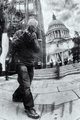 St Paul's Selfie (Woodacus) Tags: camera city portrait blackandwhite sculpture selfportrait london texture face metal self ball mirror riverside walk steps milleniumbridge relection stpaulscathedral selfie covering ef24105mmf4lisusm canoneos5dmarkii silverefexpro2 booksabouttown steeldecorative