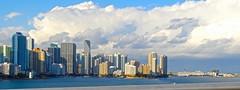 Miami Skyline (jonnievt) Tags: ocean city travel water skyline clouds plane boats skyscrapers miami cruiseship