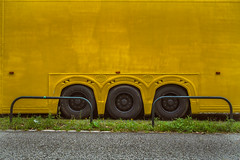yellow. (angsthase.) Tags: green yellow truck germany deutschland weeds nrw grn ruhrgebiet dortmund 2014 ruhrpott mft micro43 lumixg20f17 epl5 olympuspenepl5