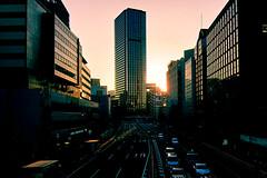 Winter Sunset (Explored) (OzGFK) Tags: street city winter sunset sun japan canon tokyo asia afternoon traffic s90 tamachi shibaura