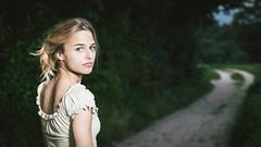 Strolling (dawolf-) Tags: girl woman forest dirt road path walking looking back strobist flash canon eos 5d headshot head portrait portfoliofaces recreatethumbs