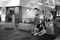 Rough Night for Samurai Blue (Jake in Japan) Tags: street blackandwhite man monochrome japan night drunk kyoto candid soccer sony  jersey  passedout  kiyamachi       apsc   sel24f18z e24mmf18za jakejung
