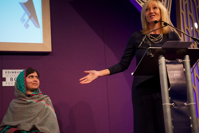 JK Rowling introduces Malala Yousafzai at the Edinburgh International Book Festival