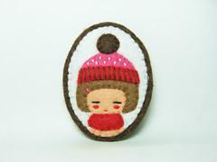 A girl who loves winter felt brooch (hanaletters) Tags: portrait girl miniature pin handmade brooch jewelry felt hedgehog etsy hanaletters