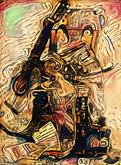 SelfPortrait 1974 (clabudak) Tags: drawing artwork ostagram selfportrait stilllife guitar jeans chair music sheets drpepper purse 1974