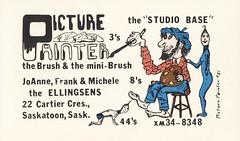 Picture Painter #21: Picture Painter, The Brush & Mini-Brush - Saskatoon, Saskatchewan (73sand88s by Cardboard America) Tags: qsl cb cbradio vintage qslcard saskatchewan artistcard