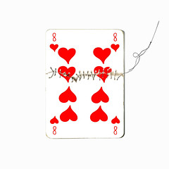 eight of hearts (brescia, italy) (bloodybee) Tags: 365project playingcards cards play game 8 eight heart sewing thread needle stitch humor fun stilllife white red square