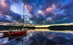 Calm Harbour (Kurt Evensen) Tags: calm mirror reflection sailboat tranquillity quiet weather risør clouds fjord still maritime vivid austagder sunset sea sky shore silence norway harbour water no