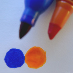 Synecdoche Orange and Blue (Coyoty) Tags: flickrfriday synecdoche orange blue pens color white markers art ink macro bokeh macromondays orangeandblue squareformat square blur blend venn venndiagram diagram flickr logo flickrlogo pointy diagonal round circle close closeup highlighter symmetry asymmetry abstract still stilllife contrast obligatory obt owf oot texture design