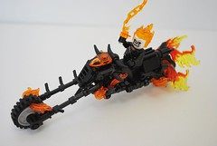 Spirit of Vengeance (Ben Cossy) Tags: lego comic marvel ghost rider nick cage vig stem fire bike motorcycle sign keep out chain hell moc afol
