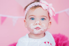 Ellie's Cake Smash! <3 (Samantha Nicol Art Photography) Tags: cake smash pink samantha nicol art beith studio natural light first birthday party bunting props