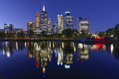 Melbourne (J-C-M) Tags: yarraevening yarra river water reflection reflected city melbourne buildings evening dusk riverbank blue sky victoria australia