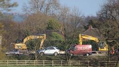 Dancing Diggers (Wildlife Terry) Tags: m6motorway junction16 junction17 crewe sandbach cheshire smart motorway civilengineering diggers excavators amateurphotography 15032017