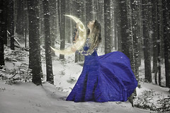 The Loyal Companion (R. Keith Clontz) Tags: winter conceptualart fantast bluedress snow snoing blowingsnow forest winterforest blizzard glamour girlholdingmoon glowingmoon rkeithclontz leahspitz visualiphotography