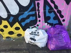 Matching Street Art and Binbags (Mike Serigrapher) Tags: manchester street art binbags rubbish refuse stevenson square