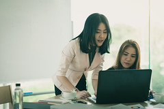 Young Asian women workers working together in office (silaaa) Tags: asian collaboration administer administration advice adviser assist assistance assistant boss brainstorm business businesswoman busy cooperation coworker coach colleague company computer consult director employee employer explain filter gather group inspect interactive laptop manager meet occupation office online partner people startup team teamwork technology together training vintage woman women work worker workingwoman ilobsterit
