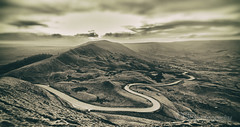 (OSR Photography) Tags: sepia landscape peakdistrict mamtor derbyshire mountains clouds goth gothic dramatic road path sky winding