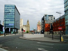 Liverpool (View of Strand Street & city skyline) (Netty 78) Tags: road street city greatbritain england signs skyline architecture liverpool buildings europe cityscape northwest unitedkingdom europeanunion merseyside 2014 royalliverbuilding grade1listed strandstreet