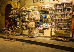 A little night time shopping! (Jenny dot com) Tags: shoes hats bags oldtown rethymnon touristshop