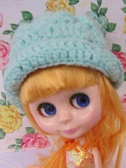 Hiedi wearing a crocheted hat I made for her