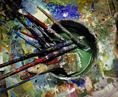 Soaking (hutchphotography2020) Tags: color paint brushes tabletop soaking finearts artstudio iphonecamera