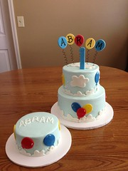 Balloons and clouds 1st birthday cake with coordinating smash cake (dms81) Tags: birthday blue red yellow cake clouds balloons smash 1st first