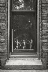 Three Figures Office Window (frntprchprss) Tags: blackandwhite window figures smithcollege jamesgehrt