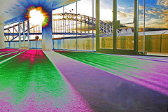 View on Harbour Bridge (Dieter Drescher) Tags: backlight photoshop experiments distorted sydney australia australien harbourbridge gegenlicht falsecolours verfremdet falschfarben dieterdrescher