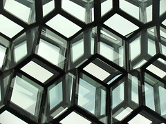Harpa Concert Hall - Interior (quiggyt4) Tags: reflection building glass architecture modern stairs reflections mirror hall iceland concert pattern exterior geometry surrealism interior hexagonal mirrors modernism surreal reykjavik ceiling cube hexagon escher urbanism downstairs topology mcescher conferencecenter icelandic cubism harpa ronpaul ows inception occupy christophernolan harpaconcerthall occupywallstreet