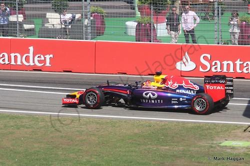 Sebastian Vettel in his Red Bull during Free Practice 2 at the 2014 German Grand Prix