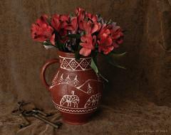 Astromelia and Keys (Grace Pedulla Dillon) Tags: flowers stilllife vintage ceramic keys native vase pottery bouquet floralarrangement oldfashioned southwestern astromelia antiquekeys
