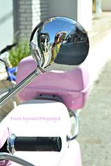 Pink photographer.... (Dimitra Kirgiannaki search engine the whole spring) Tags: pink summer blur me colors reflections greek photography mirror greece vespas 2014 dimitra sporades agkistri nikond3100 kirgiannaki