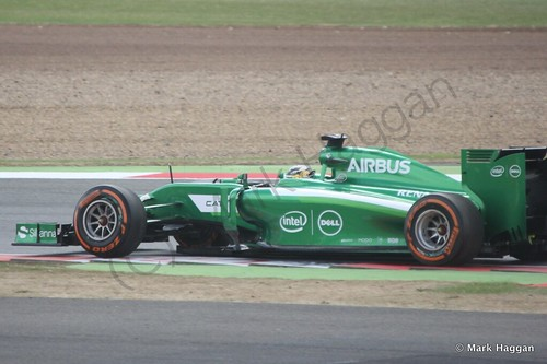 Marcus Ericsson in his Caterham during Free Practice 2 at the 2014 British Grand Prix