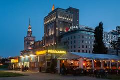 Palace of Culture, PASTa, Bank of China and Pierogi, Warsaw, Poland (msadurski) Tags: night pasta warsaw past warszawa 1944 pkin bankofchina
