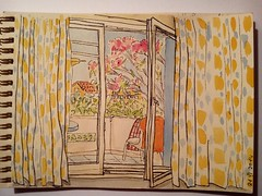 View from my apartment in Greece/ Crete (Olga Parfenova) Tags: blue trees sea summer sun green yellow pen ink watercolor sketch apartment room greece crete chania